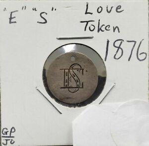 1876 Seated Liberty Dime Engraved Love Token Pendant E.S ES Initials Logo