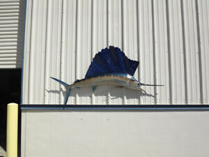 """84"""" Atlantic Sailfish Two Sided Fish Mount Replica - 10 Business Day Production"""