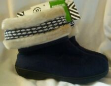 NWT ISOTONER Woodlands Cozy Boot Slippers XL Women's 9.5-10.5 Navy Free Shipping