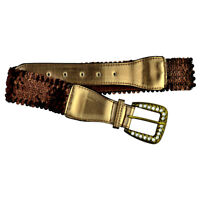"""BROWN 2"""" WIDE ELASTIC STRETCH SEQUINED BUCKLE BELT Sizes S M and L"""