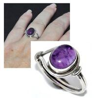 Bague en argent massif 925 cabochon Améthyste violet T 52 et 54 bijou ring