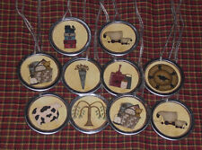 10 Primitive Country Sheep Crow Cow Tree Metal Rim Hang Tags Gift Ties Ornies