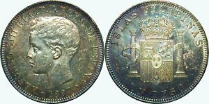 1897 SGV Spain/Philippines UN Peso ~ UNC Details TONED ~ Silver ~ KM#154 ~ MX657