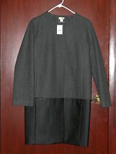 J Crew Factory collarless dress coat leather panel, size 4,item B5349 gray black
