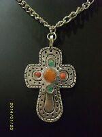 Silvertone Cross Crucifix Necklace with Semi - precious stones.