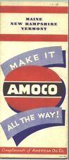 1948 Amoco Maine/New Hampshire/Vermont Vintage Road Map