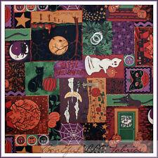 BonEful Fabric FQ Cotton Quilt VTG Halloween Patchwork Pumpkin Cat Bat Moon Star