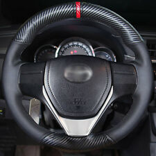 Hand sewing Leather Carbon Fiber Steering Wheel Cover For Toyota RAV4 Corolla