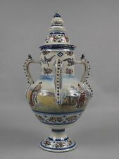 VERY LARGE!! Italian faience maiolica centre piece vase with lid circa 1900