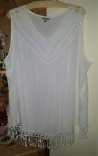AVENUE  Beautiful White Tank Tunic Crochet Lace Trim Sz 22/24