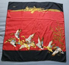 GUCCI Red Duck Patterned Square Scarf Size 84cm x 84cm Good Used Condition