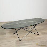 Tavolino tavolo da salotto ovale basso di modernariato anni 60 70 marmo resina