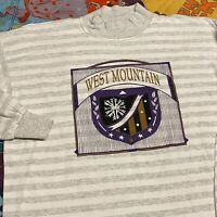 Vintage 90s West Mountain Long Sleeve T Shirt Adult Mens L Striped Gray Ski USA