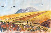 Provence aquarelle Sainte-Victoire signée  illisible France