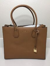 Authentic Michael Kors MK Mercer Large Bonded Leather Tote - Acorn