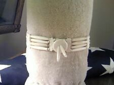 4 Strand All Bone Choker Necklace w/Black Leather Ties