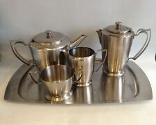 More details for old hall stainless steel teapot set water jug milk & sugar tray set