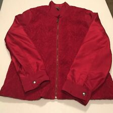 Zoe D. XL Zip Front Jacket Fully Lined Bood Red Ruched Lightweight