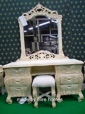 Antique Ivory Rococo Dressing table mirror and stool . Mirrored frame