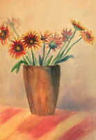 Vintage watercolor painting still life with flowers