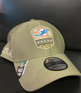 New Era 39Thirty Miami Dolphins Salute To Service Hat NWT L/XL NFL