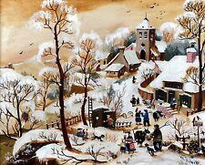 Paul Janos (C20th) - Villaggio di montagna-Inverno Scena Città rurale, firmato olio tela