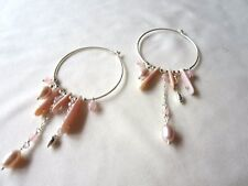 GENUINE PINK FRESHWATER PEARL & ROSE QUARTZ HOOP EARRINGS STERLING SILVER NEW