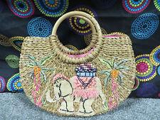 Lord & Taylor Straw Handbag w/Multi-Color Fabric & Beaded Design/Wooden Handles