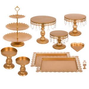 Cake Stand Cupcake Holder 9Pcs Set Gold Crystal Dessert Display Wedding Party 🎅