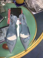 NIB Prada Logo Bow Blue Leather Slingback Pump Low Heel Shoes size 37  $750
