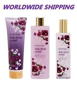 Bodycology Dark Cherry Orchid Combo Mist + Body Cream + Body Wash WORLD SHIPPING