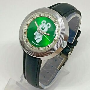 Rare Collectible Raketa Wrist Watch Ussr Olympic Bear 80's Vintage Soviet Green
