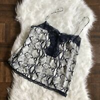 ark & co Medium Blue Gray Snake Print Cami Tank Top Lace Trim NWT