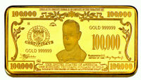 ★★ JOLI MEDAILLE PLAQUéE OR ● USA ● BILLET DE 100000 DOLLARS  ★