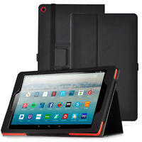 Amazon Fire HD 10 2019 Tablet Case | Leather Full Coverage Smart Cover Black
