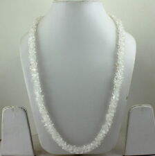 NATURAL CRYSTAL  CHIPS GEMSTONE BEADED LONG NECKLACE 63 GRAMS