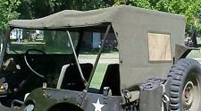 Military Jeep M38 Vehicle Canvas Top Mil Spec OD One Day Handling!
