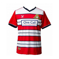 large DONCASTER ROVERS FOOTBALL SHIRT 2016/17 DRFC Soccer Jersey Red Home