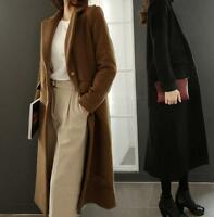 New Womens Lapel Cashmere Blend Long Trench Coat Jacket Single-breasted Overcoat