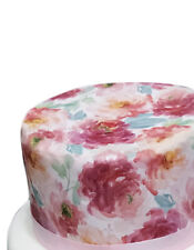 A4 Watercolour Peony Floral Flower Wallpaper Edible Icing Cake Topper Decoration