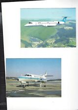 Luxair Airlines  issued  ERJ 145/Fairchild Metro III cont/l lot of 2 postcards