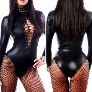 Sexy Women Erotic Lingerie Leather Latex Baby Doll Pole Dance Clubwear Bodysuit