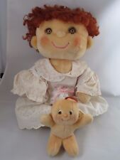 Vintage Hugga Bunch Doll Hugsy Plush with Baby Tuggins Kenner 1980s - redressed