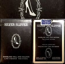 Black SILVER SLIPPER Table Play Used Vegas Playing Cards Casino Cancelled Deck