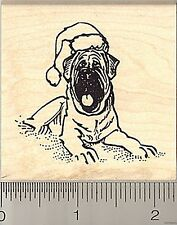 Mastiff in Santa Hat Rubber Stamp H8413 English Wm