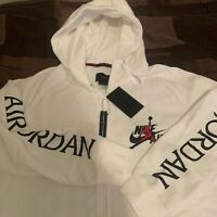 Nike Air Jordan Fleece Full Zipper Hoodie Sweater Wht/Blk/Red Men's Sz L