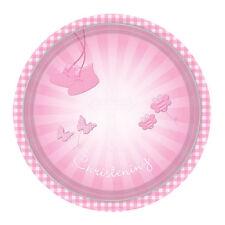 8 X Rose Baptême Assiettes en Papier 23cm Chaussons Design Filles Fête de