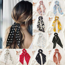 Boho Print Ponytail Scarf Hair Bow Ties Dot Floral Scrunchie Ribbon Hair Band UK