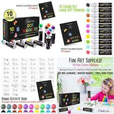 Washable Dot Markers For Kids With Free Activity Book   Large 10 Colors Set   Wa