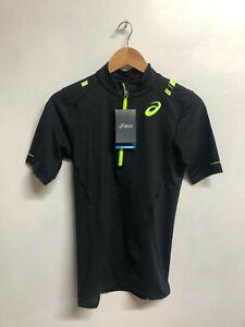 Asics Men's 1/2 Zip Sports Top Impact Short Sleeve 1/2 Zip Top - Black - New